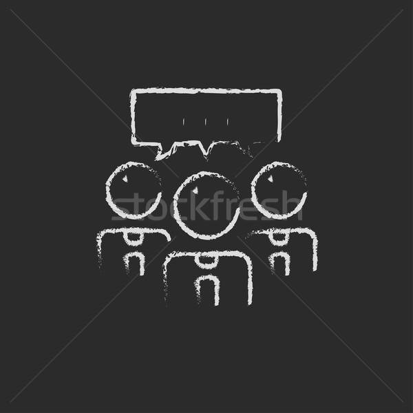 People with speech square drawn in chalk Stock photo © RAStudio