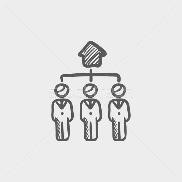 Three agent in one house sketch icon Stock photo © RAStudio