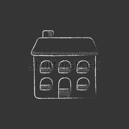 Two storey detached house icon drawn in chalk. Stock photo © RAStudio