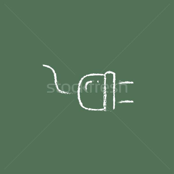 Plug icône craie dessinés à la main tableau noir Photo stock © RAStudio