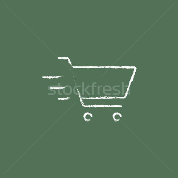 Stok fotoğraf: Alışveriş · sepeti · ikon · tebeşir · tahta