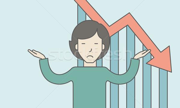 Faillissement asian zakenvrouw vallen beneden grafiek Stockfoto © RAStudio