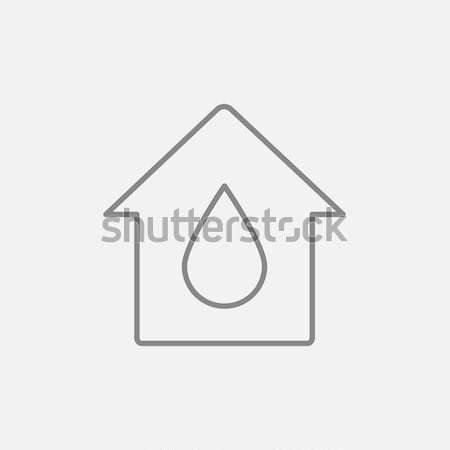 Stock photo: House with water drop line icon.