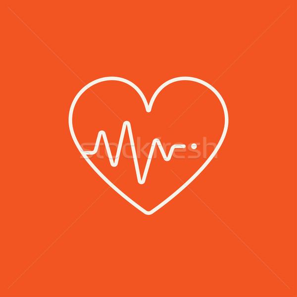 Serca kardiogram line ikona symbol internetowych Zdjęcia stock © RAStudio