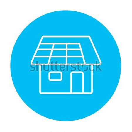 Maison panneau solaire ligne icône web mobiles Photo stock © RAStudio