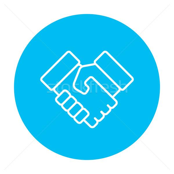 Kézfogás sikeres ingatlan tranzakció vonal ikon Stock fotó © RAStudio