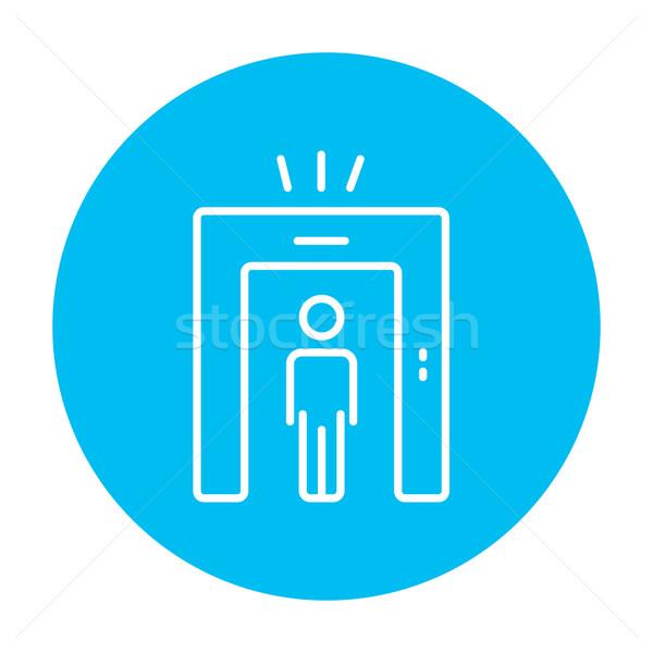 Hombre metal detector puerta línea icono Foto stock © RAStudio