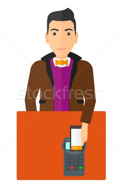 Férfi fizet okostelefon vásárló vektor terv Stock fotó © RAStudio