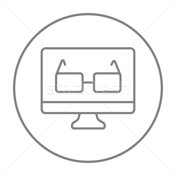 眼鏡 コンピュータモニター 行 アイコン ウェブ 携帯 ストックフォト © RAStudio