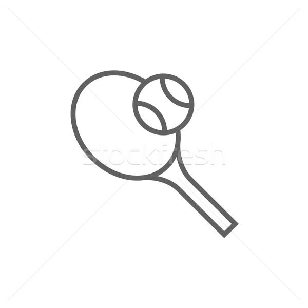 Teniszütő labda vonal ikon sarkok háló Stock fotó © RAStudio