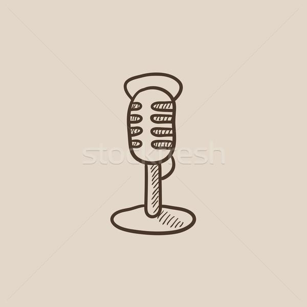 Foto stock: Retro · microfone · esboço · ícone · teia · móvel
