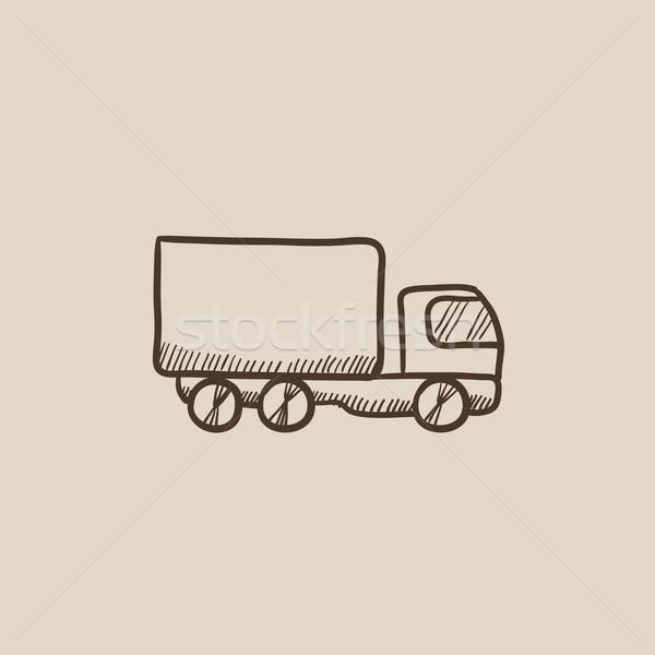 Teslim kamyon kroki ikon web hareketli infographics Stok fotoğraf © RAStudio