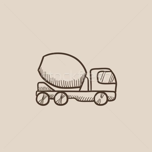 Konkretnych miksera ciężarówka szkic ikona internetowych Zdjęcia stock © RAStudio