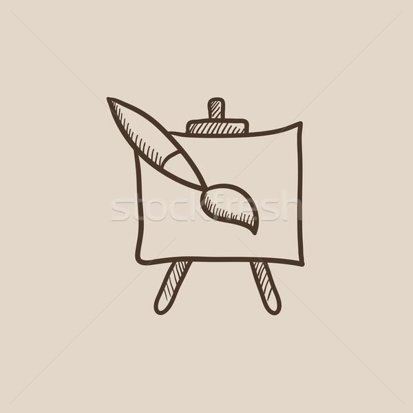 мольберт кистью эскиз икона веб мобильных Сток-фото © RAStudio