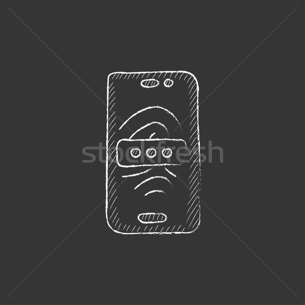 Mobile phone scanning fingerprint. Drawn in chalk icon. Stock photo © RAStudio