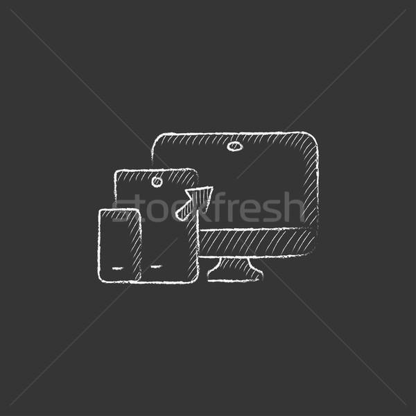 Reszponzív web design rajzolt kréta ikon kézzel rajzolt Stock fotó © RAStudio