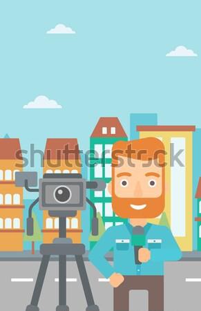 Tv journaliste travail caméra barbe Photo stock © RAStudio