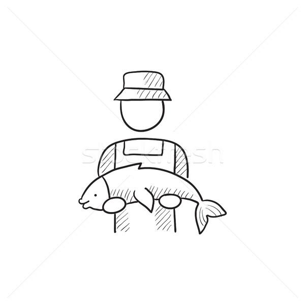 Rybaka duży ryb szkic ikona wektora Zdjęcia stock © RAStudio