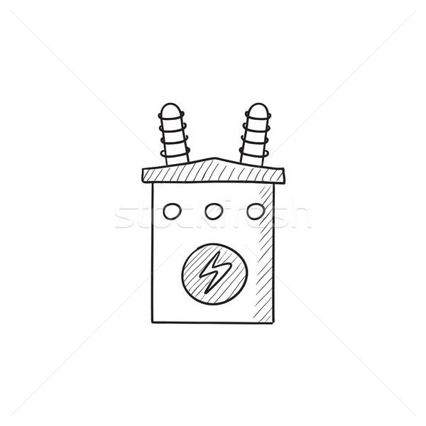 Transformator szkic ikona wektora odizolowany Zdjęcia stock © RAStudio