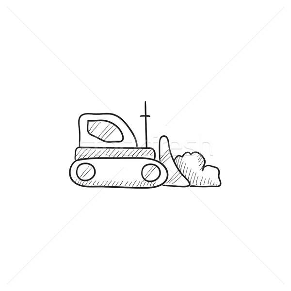 бульдозер эскиз икона вектора изолированный рисованной Сток-фото © RAStudio