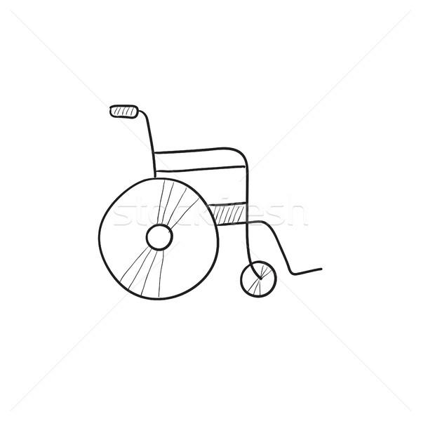 Cadeira de rodas esboço ícone vetor isolado Foto stock © RAStudio