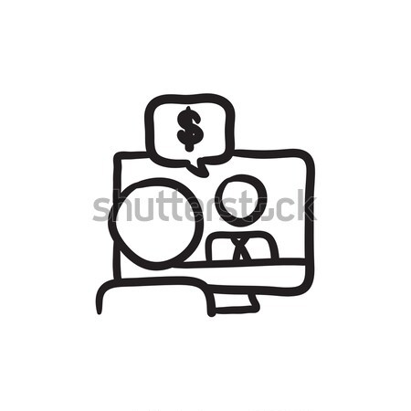 Business video negotiations sketch icon. Stock photo © RAStudio