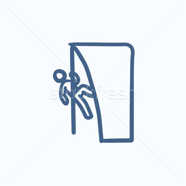 Rock climber sketch icon. Stock photo © RAStudio