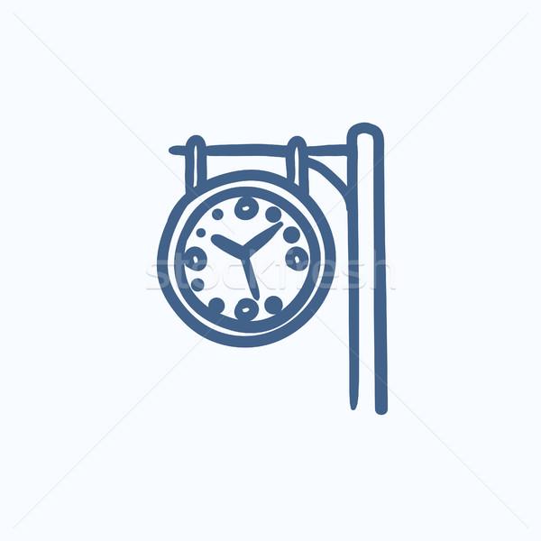 Vasútállomás óra rajz ikon vektor izolált Stock fotó © RAStudio