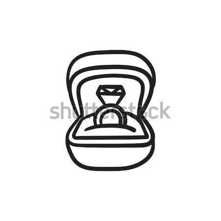 Jegygyűrű ajándék doboz rajz ikon vektor izolált Stock fotó © RAStudio