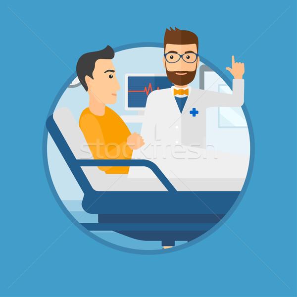 Stock fotó: Orvos · beteg · hipszter · férfi · kórház · mutat