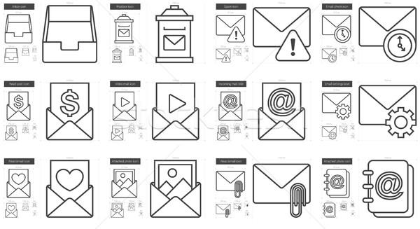 Email vonal ikon gyűjtemény vektor izolált fehér Stock fotó © RAStudio