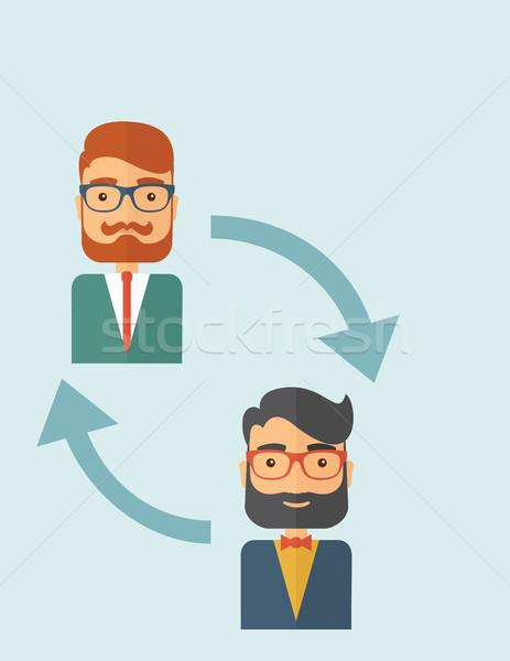 Empregado substituição dois jovem caucasiano cavalheiros Foto stock © RAStudio