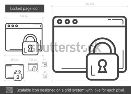 Foto stock: Trancado · página · linha · ícone · vetor · isolado