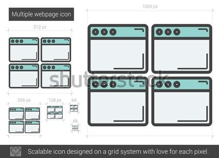 Többszörös weboldal vonal ikon vektor izolált Stock fotó © RAStudio