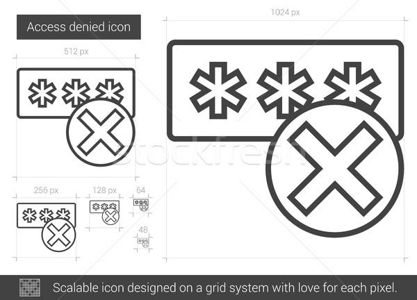 Hozzáférés elutasított vonal ikon vektor izolált Stock fotó © RAStudio