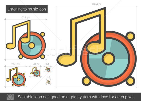 Zenét hallgat vonal ikon vektor izolált fehér Stock fotó © RAStudio
