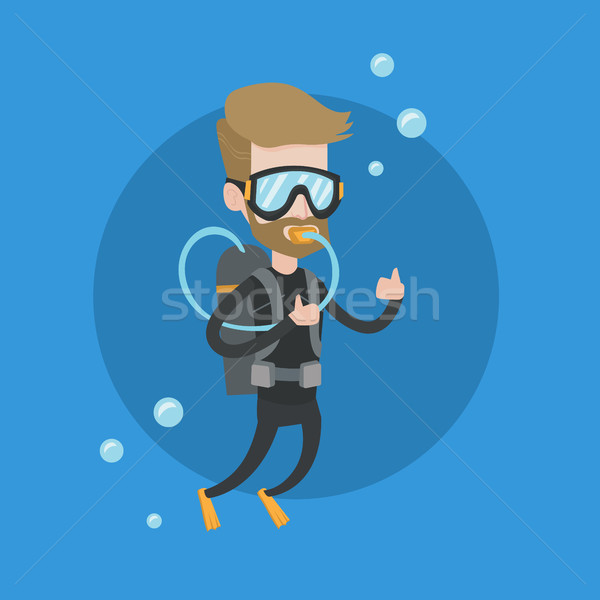 Homme plongée Scuba signe Photo stock © RAStudio