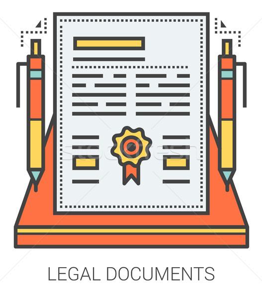 Giuridica documenti line infografica metafora icone Foto d'archivio © RAStudio