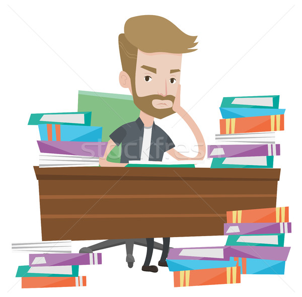Student sitting at the table with piles of books. Stock photo © RAStudio