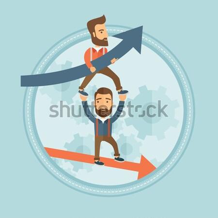 Sikeres becsődölt üzletemberek lehangolt üzletember tart Stock fotó © RAStudio