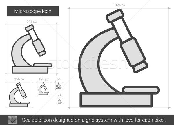 микроскоп линия икона вектора изолированный белый Сток-фото © RAStudio