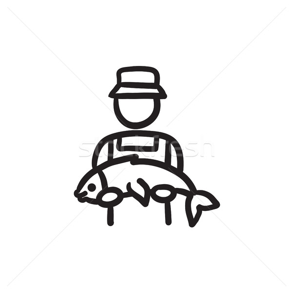 Fisherman with big fish sketch icon. Stock photo © RAStudio