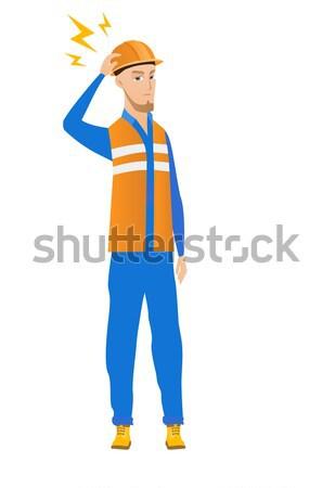 кавказский строителя Молния голову молодые Сток-фото © RAStudio