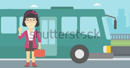 Iş kadını bekleme otobüs durağı evrak çantası kadın oturma Stok fotoğraf © RAStudio