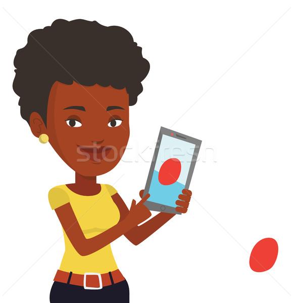 Stock fotó: Nő · játszik · tevékenység · játék · okostelefon · mobiltelefon
