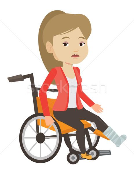 женщину сломанной ногой сидят коляске печально ногу Сток-фото © RAStudio