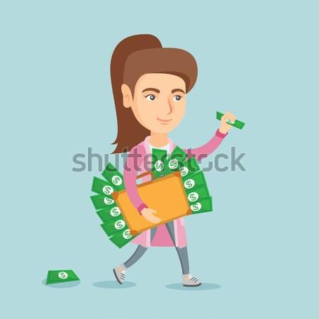 деловой человек портфель полный деньги кавказский ходьбе Сток-фото © RAStudio