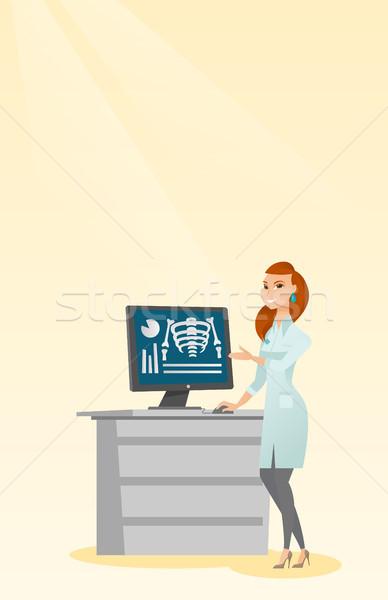 Stock photo: Doctor examining a radiograph vector illustration.