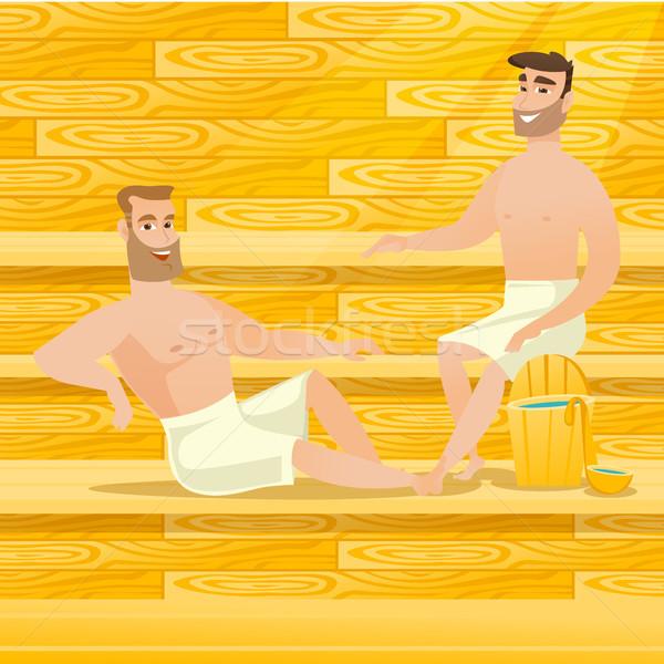 Caucásico hombres relajante sauna sesión Foto stock © RAStudio