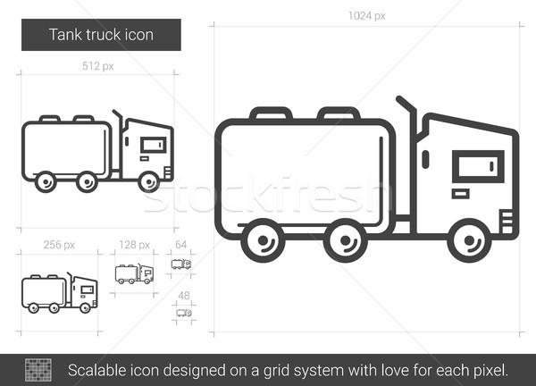 Tanque camión línea icono vector aislado Foto stock © RAStudio